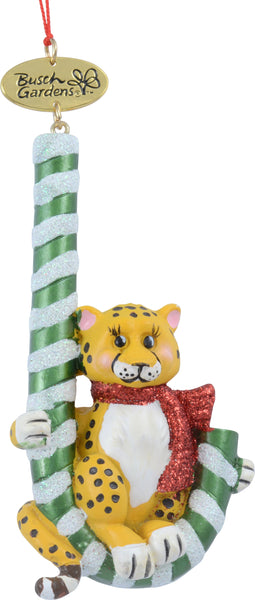 Busch Gardens Cheetah with Candy Cane Ornament