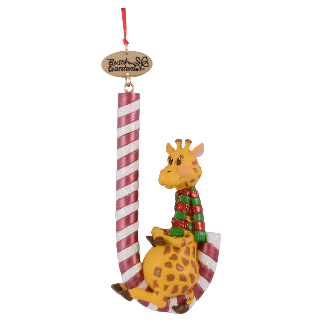 Busch Gardens Giraffe with Candy Cane Ornament