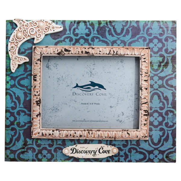 Discovery Cove Dolphin Pattern Swirl 6 x 8 Photo Frame
