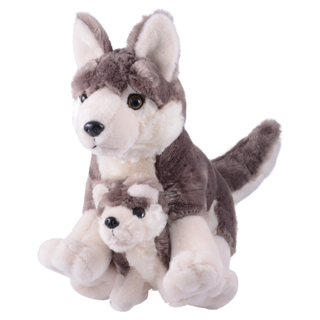 Mom and Baby Wolf Plush