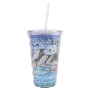 Aquatica Commerson's Dolphin Glitter Tumbler with Straw