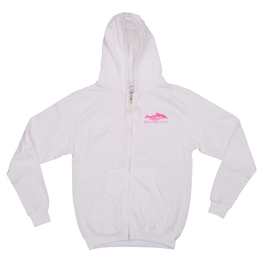 Discovery Cove Swim Swam Swum White Ladies Zip Hood