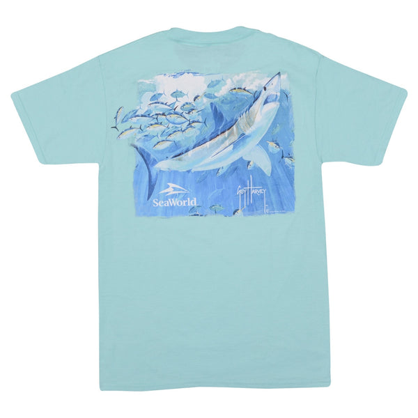 SeaWorld and Guy Harvey Exclusive Mural Mako and Tuna Mint Adult Pocket Tee