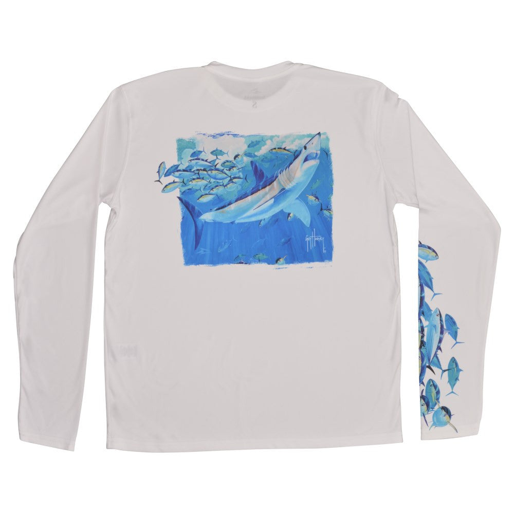 SeaWorld and Guy Harvey Mako Tuna Adult Performance Long Sleeve Tee