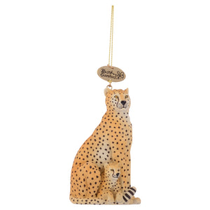Realistic Cheetah Mom and Baby Ornament