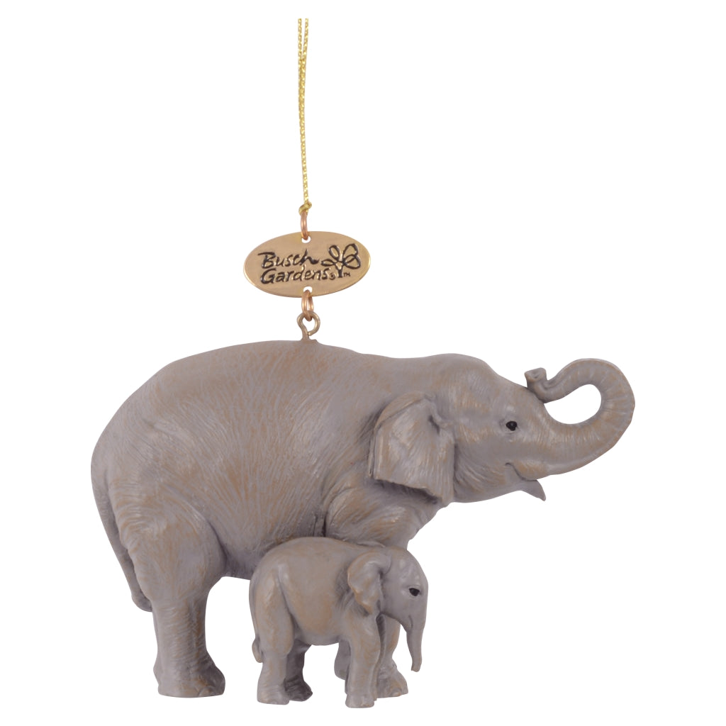 Realistic Elephant Mom and Baby Ornament