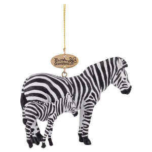 Realistic Zebra Mom and Baby Ornament