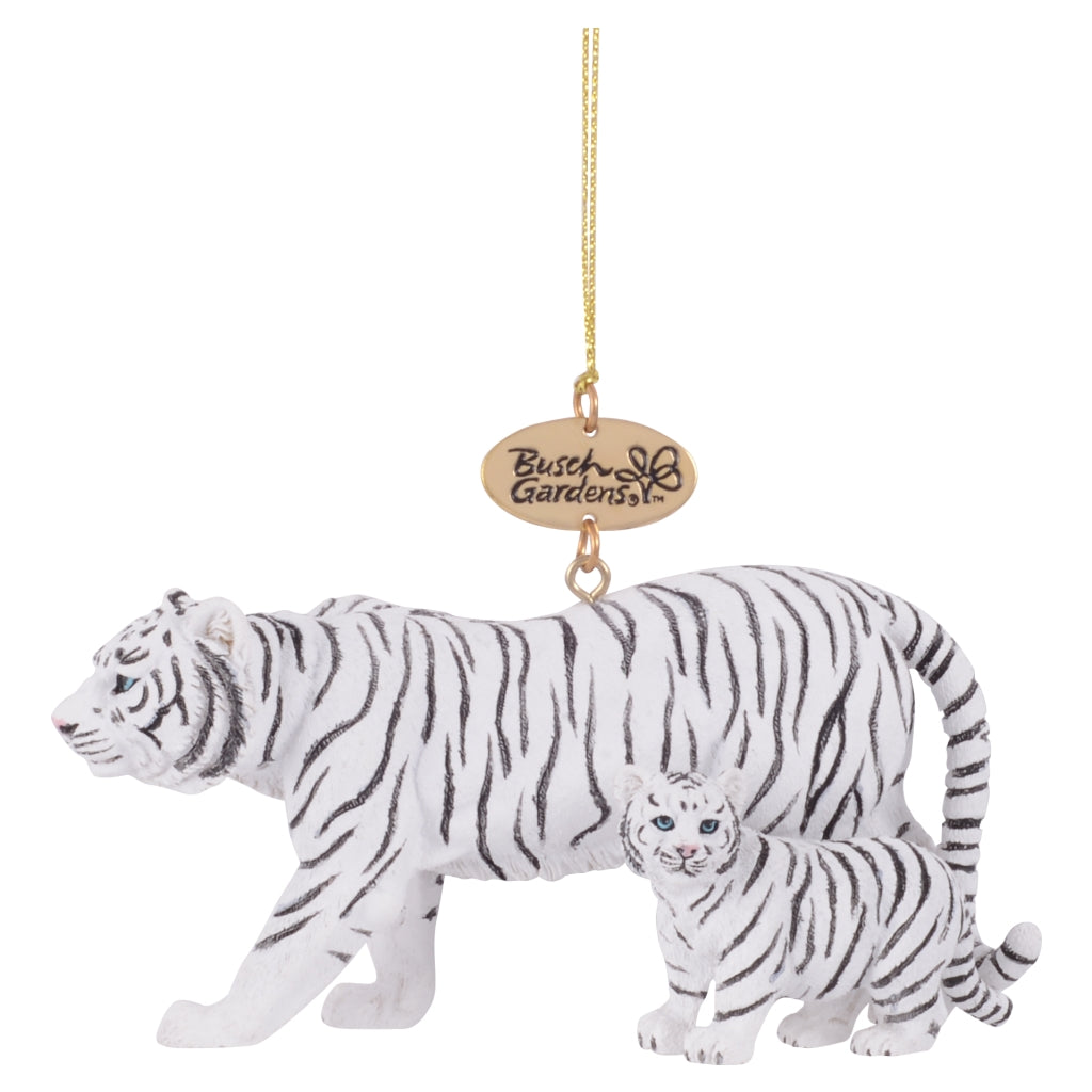 Realistic White Tiger Mom and Baby Ornament