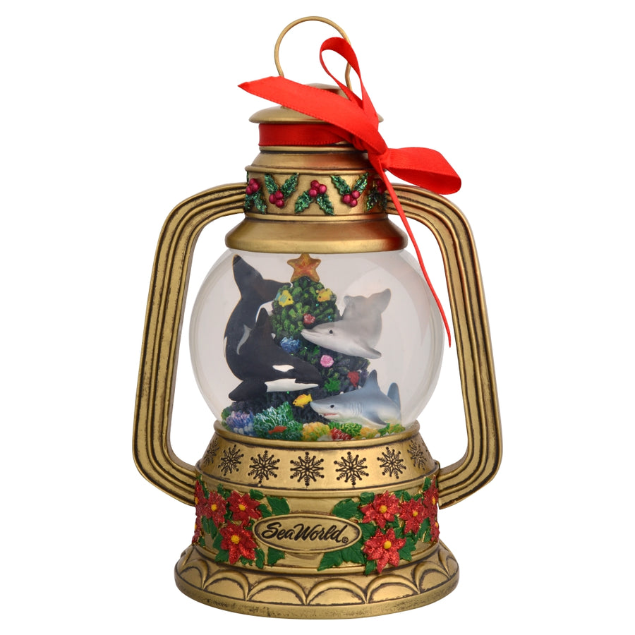 SeaWorld Christmas Gold Lantern Snow Globe