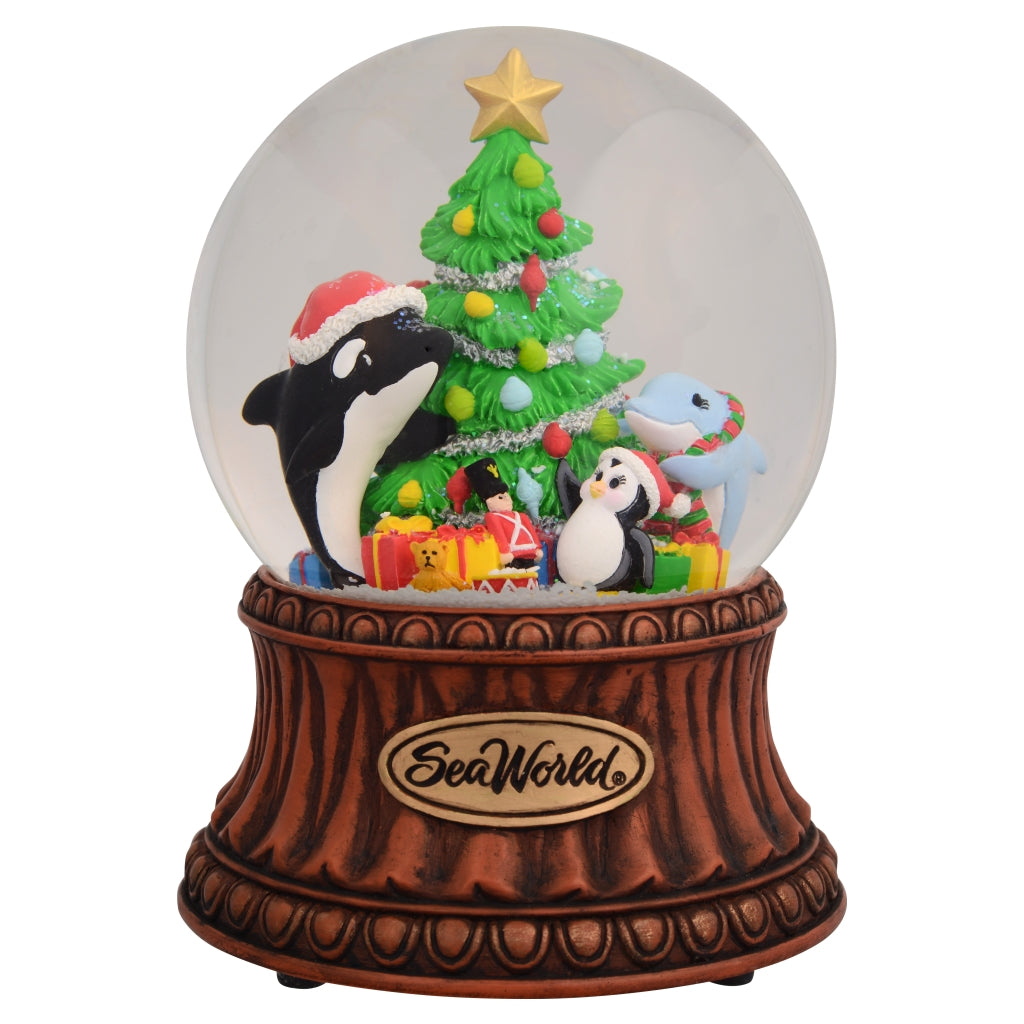 SeaWorld Christmas Musical Character Snow Globe