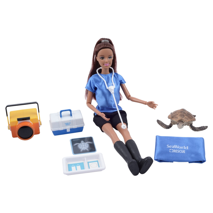 SeaWorld Sea Rescue Brunette Doll Playset