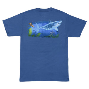 SeaWorld and Guy Harvey Exclusive Great White Blue Adult Pocket Tee