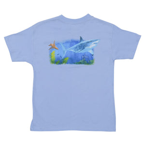 SeaWorld and Guy Harvey Exclusive Great White Blue Youth Tee