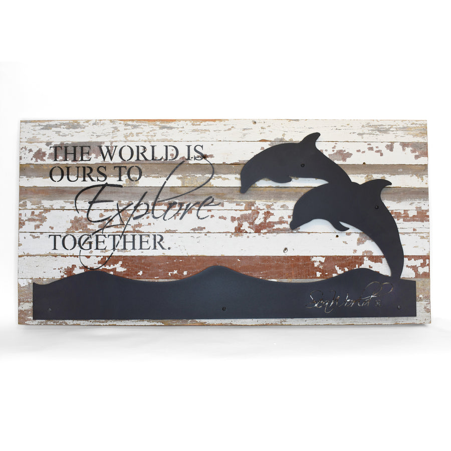 "SeaWorld Dolphin The World Is Ours Metal Cutout Wall Art - 36"" x 18"""