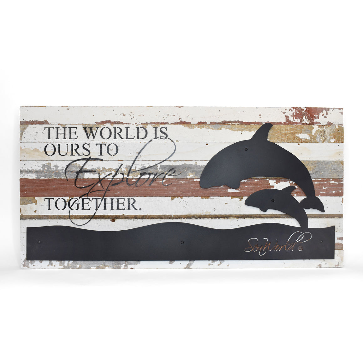 "SeaWorld Orca The World Is Ours Metal Cutout Wall Art - 36"" x 18"""