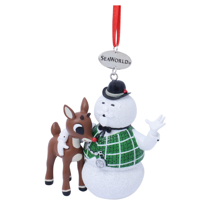 SeaWorld Sam The Snowman With Rudolph Resin Ornament