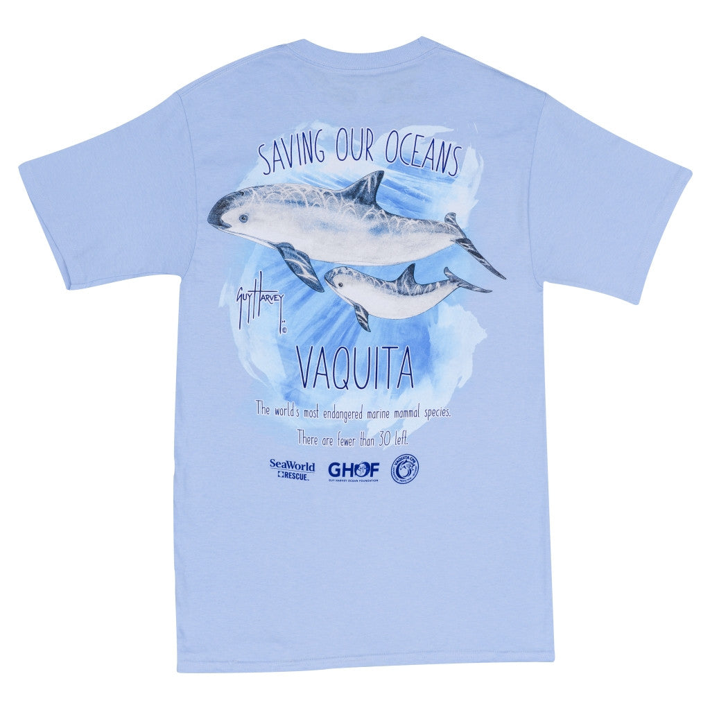 SeaWorld and Guy Harvey Exclusive Vaquita Light Blue Adult Pocket Tee