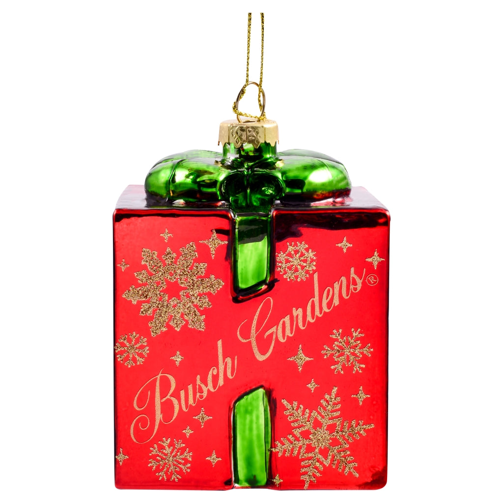 Busch Gardens Red Glass Present Ornament