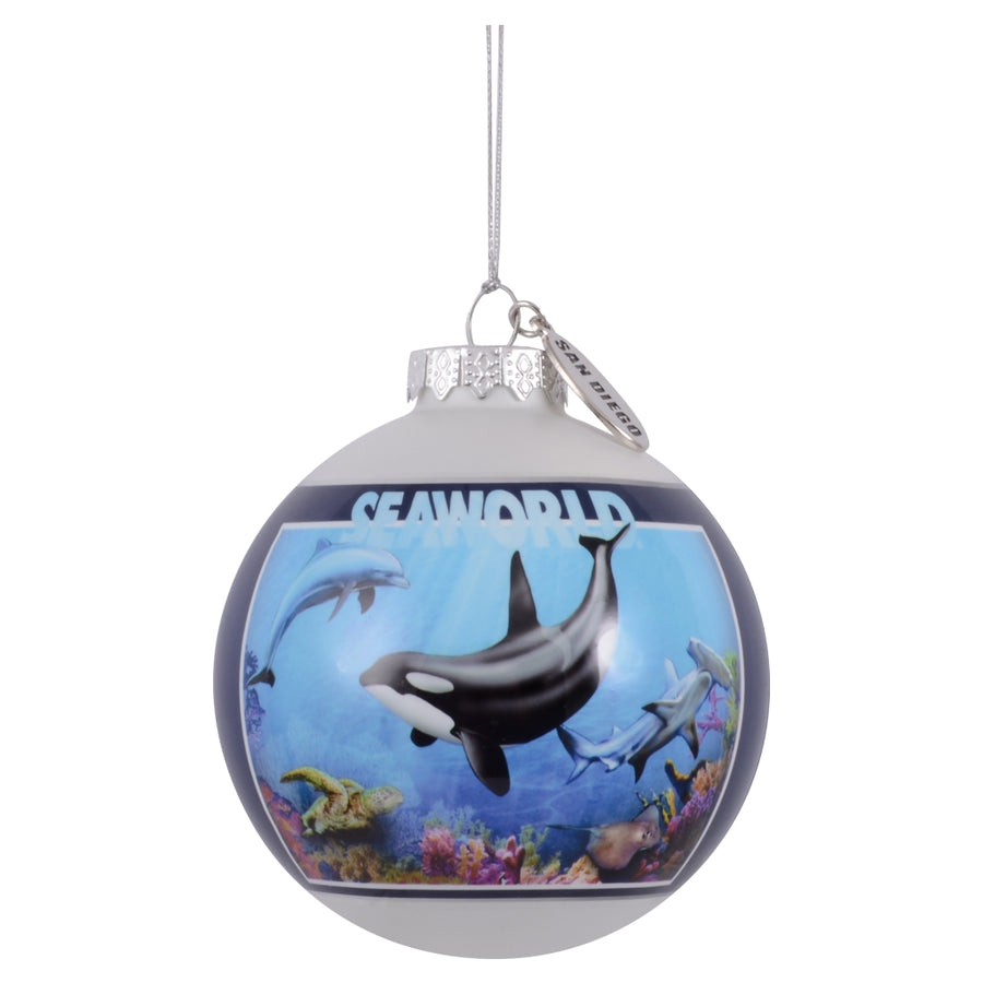SeaWorld San Diego City Collage Glass Ornament