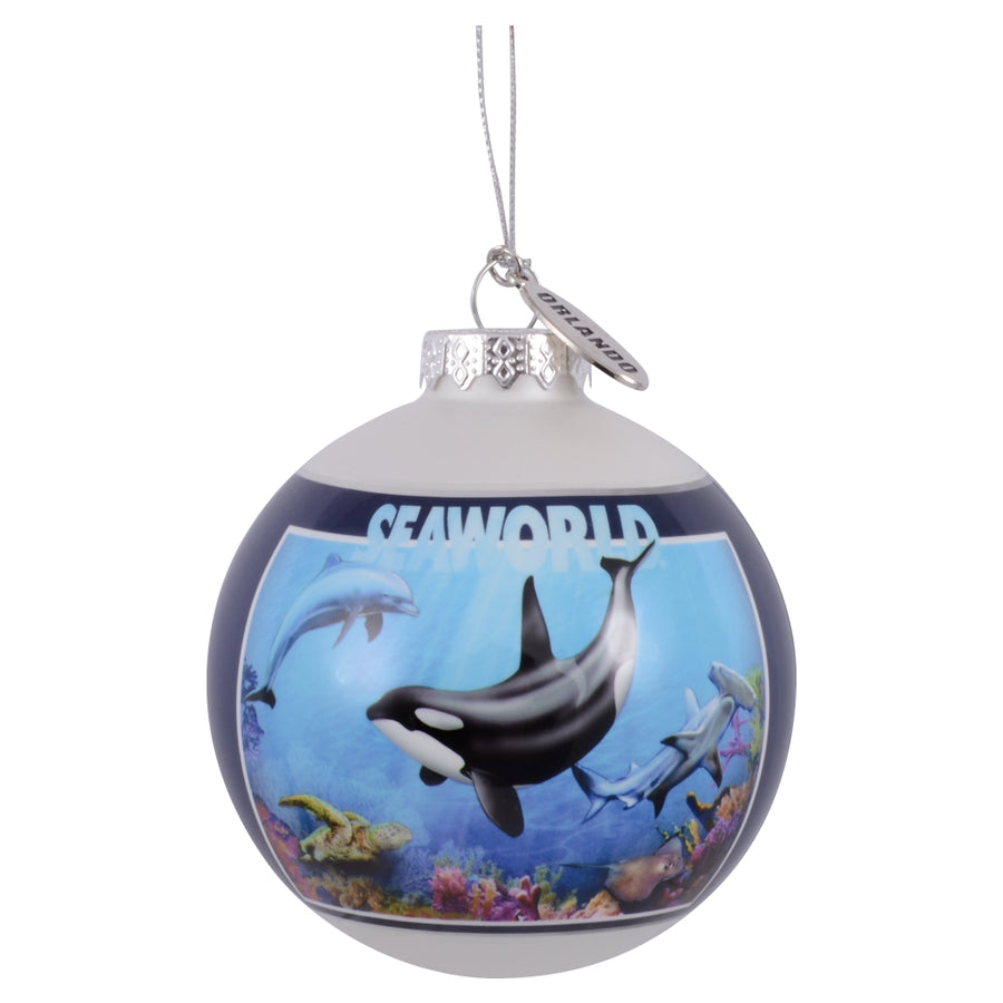 SeaWorld Orlando City Collage Glass Ornament