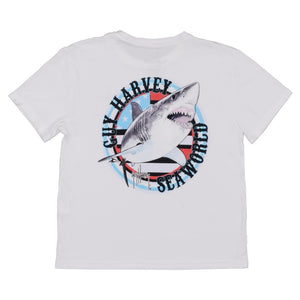 SeaWorld & Guy Harvey Exclusive USA Shark White Performance Youth Tee