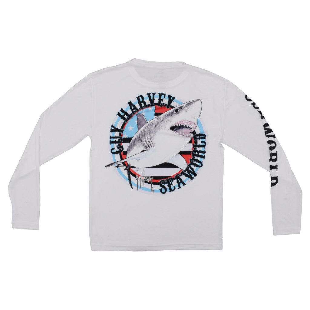 SeaWorld & Guy Harvey Exclusive USA Shark White Long Sleeve Performance Adult Tee