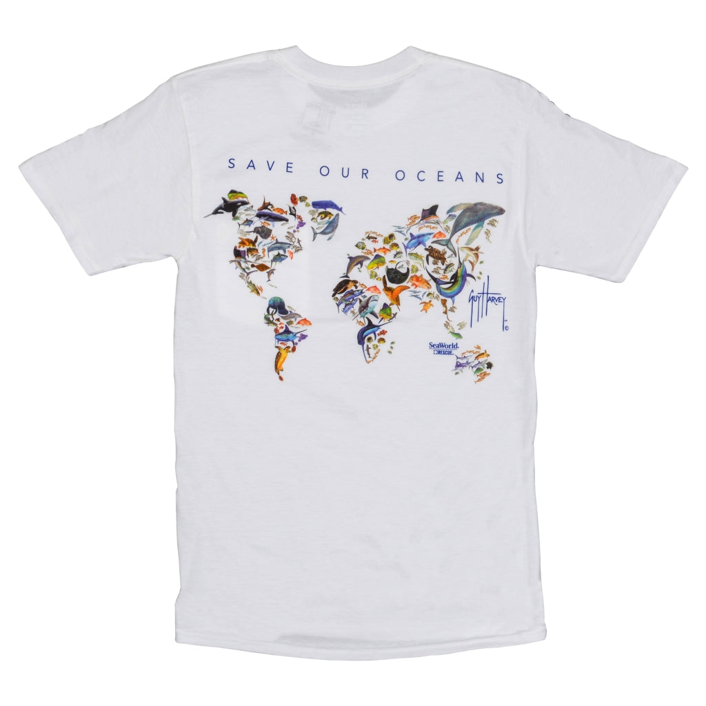 SeaWorld and Guy Harvey Exclusive Saving Our Oceans White Adult Pocket Tee