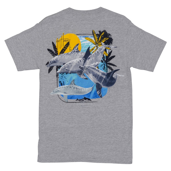 Discovery Cove and Guy Harvey Exclusive Dolphin Vibin Grey Adult Tee