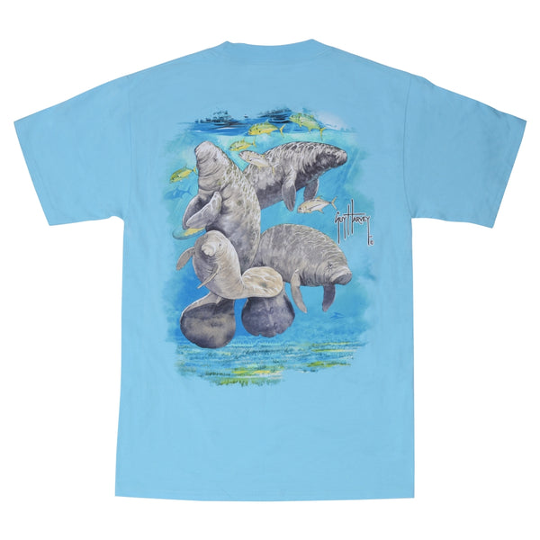 SeaWorld and Guy Harvey Exclusive Manatee Blue Adult Pocket Tee