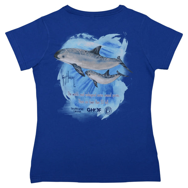 Seaworld and Guy Harvey Exclusive #Save The Vaquita Women's V-Neck Blue Tee