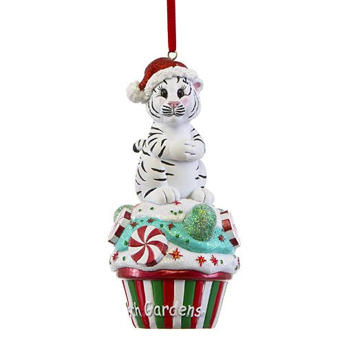 White Tiger Cupcake Resin Ornament
