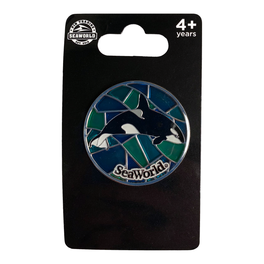 Stained Glass Orca Pin