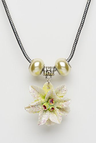 White Glitter Poinsettia Pendant Necklace with Beads