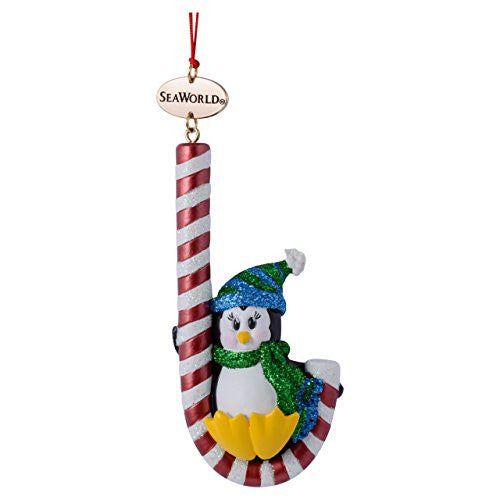 Penguin with Candy Cane Resin Ornament