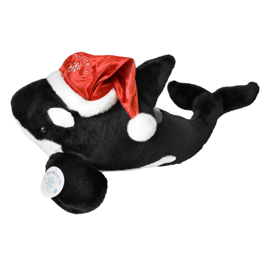 Orca Plush with Santa Hat
