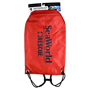 SeaWorld Rescue Waterproof Drawstring Bag - Red