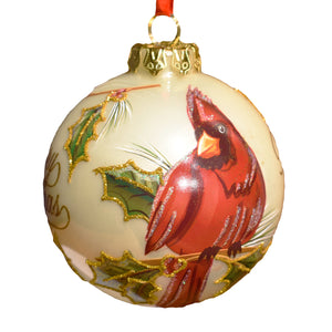 Busch Gardens Hand Painted Cardinal Glass Ornament