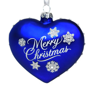 SeaWorld Blue Glass Heart Ornament