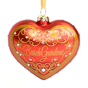 Busch Gardens Red Glass Heart Ornament