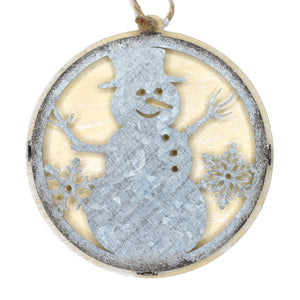Snowman Wood/Metal Ornament