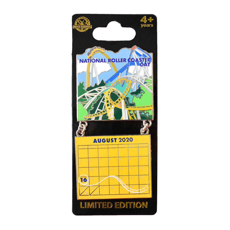 National Roller Coaster Day August 2020 BGW Calendar Pin
