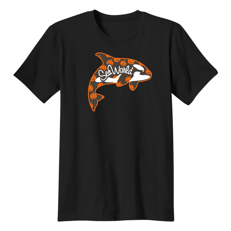 SeaWorld Halloween Whale Black Adult Tee