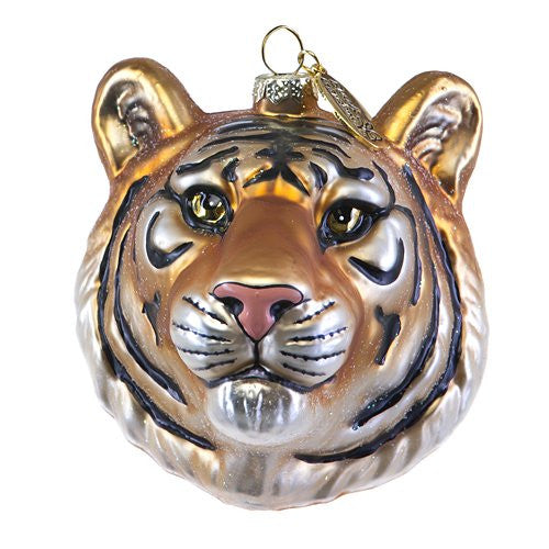 Bengal Tiger Head Glass Ornament