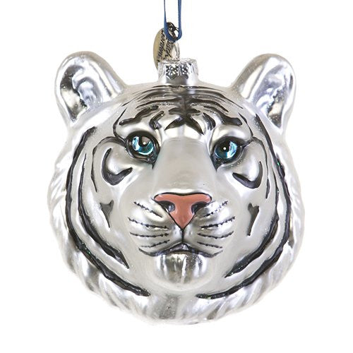 White Tiger Head Glass Ornament