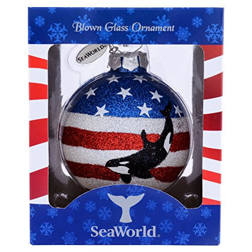 SeaWorld USA Orca Glass Ornament