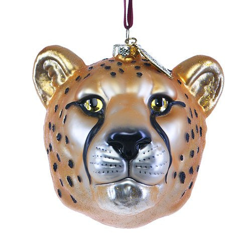 Cheetah Head Glass Ornament