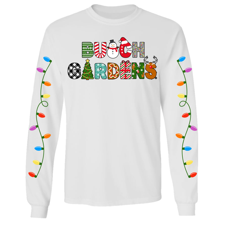Busch Gardens Christmas Letter White Adult Long Sleeve Tee