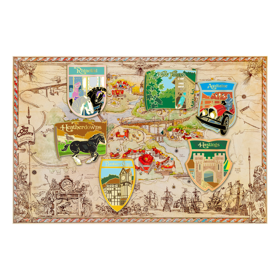 Busch Gardens Williamsburg Old Country Map 6 pc. Pin Set