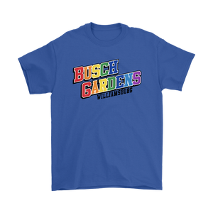 Busch Gardens Williamsburg Rainbow Collegiate Text Tee