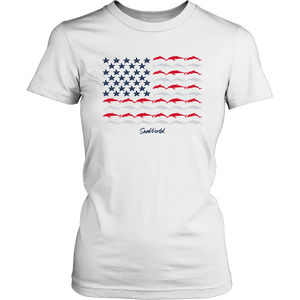 SeaWorld Americana Dolphin Flag Ladies Tee